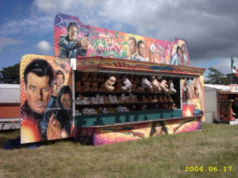 Funfair shooting gallery, one of a range of stalls available for hire